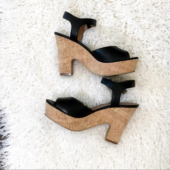 14th & Union Black Becca Platform Sandals Size 8.5